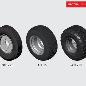 Optional: single ground wheel 900x20 for CRSG from 32 to 48 blades/single tyre 11lx15 for CRSG from 18 to 28 blades. Single tyre 400x60 for CRSG from 32 to 48 blades/single tyre 7.50x16 for CRSG from 12 to 16 blade.