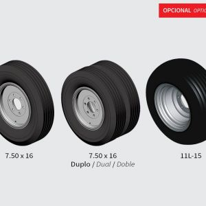 Standard: Single ground wheel with tyre 7.50x16. Optionals: Dual ground wheel 7.50x16 / Tyre 11L-15 for single ground wheel.