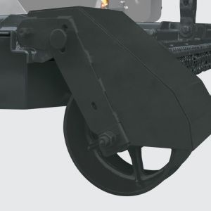 Wheel for deep adjustment with protection to avoid damage on the trees