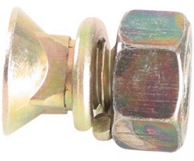 """Vis à Tetê fraisée 1/2"""" x 1.1/2"""" 12F W GR2 RP   Rondelle lisse de Ø 13 x Ø 26 x 2 mm Rondelle de Pression 1/2"""" moyenne (bichromé)   Écrou six-pans 1/2"""" 12F W GR5 CH.3/4"""" Alt. 11 mm"""
