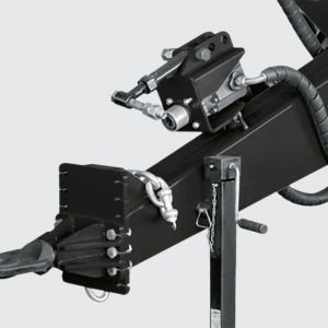 Header with swivel coupler and 3 adjustment points transfer the weight to the chassis. Safety chain.