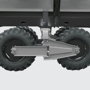 Swing / swivel Tandem running system that allows following the terrain irregularities with gauge opening from 1.80 to 3.20 meters.