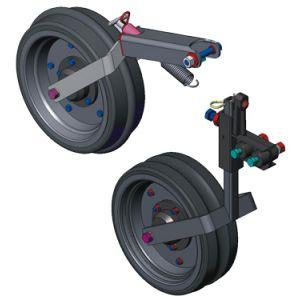 Opcional: Roda compactadora côncava, convexa e lisa. Roda de profundidade côncava, convexa e lisa c/ suporte regulador