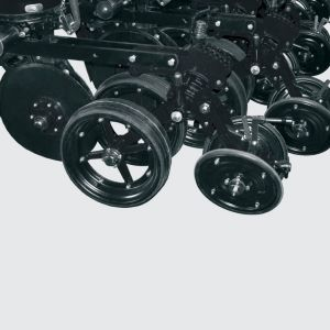 Wheels for depth control and compression with manual adjustments. Depth Control System parallel and angular